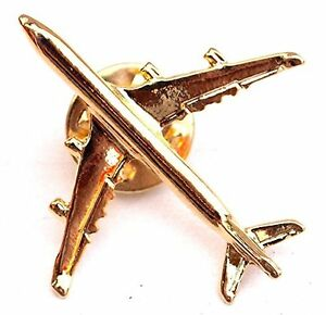 Collectible Gold Plated Airplane Lapel Pin - Four Kind Available