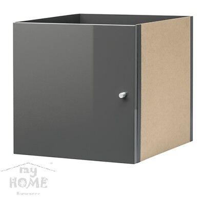 IKEA KALLAX Einsatz mit Tür Hochglanz grau 33x33 für Expedit Kallax Regal NEU