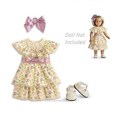 """American Girl KIT'S SUMMER DRESS Outfit for 18"""" Dolls Shoes Satin Retired NEW"""