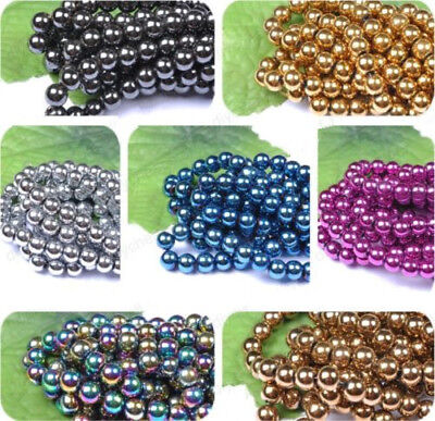 4MM 6MM 8MM 10MM 12MM Ball BLACK NON-MAGNETIC Natural HEMATITE Spacer BEADS -