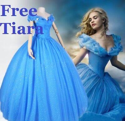 Cinderella Erwachsene Kleid Kostüm Party blau Perücke gratis Tiara UK - Cinderella Kostüm Perücke