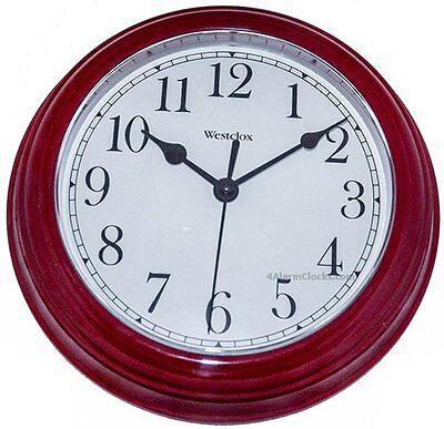 "9"" WESTCLOX ROUND WALL CLOCK BURGUNDY 46983"