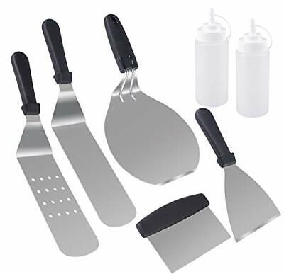 7Pcs Professional Griddle Spatula Kit Accessories BBQ Grill Tool Scraper Frying