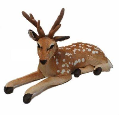 Large Cuddly Golden Deer Reindeer Animal Plush Soft Stuffed Toy 60 cm XMAS Gift