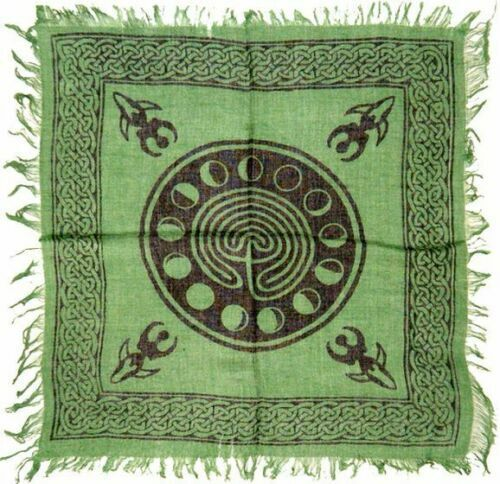 """Celtic Earth with Moon Phase Altar Cloth 18"""" x 18"""" ( Wicca Pagan Phases Tarot )"""