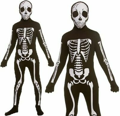 Skeleton Skin Suit (Skeleton Skin Suit Boys Halloween Lycra Bodysuit Fancy Dress Kids Girls Age)