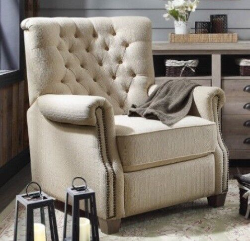 Beige Tufted Push Back Recliner Armchair Recliners Nailhead