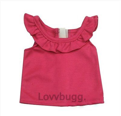 "Lovvbugg Pink Ruffle Tank Top Shirt for 18"" American Girl Doll Clothes"