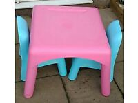 ELC table and 2 chairs