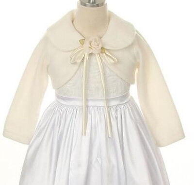 Flower girl shawl Wrap Ivory Jacket Bolero coat Pageant Wedding Winter - Flower Girl Coat
