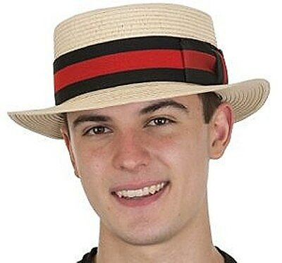 STRAW SKIMMER SAILOR OLD TIME BOATER ELECTION BARBERSHOP QUARTET COSTUME HAT - Straw Skimmer Hat