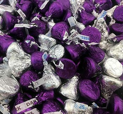 Hershey's Kisses Candy,Mix Milk Chocolate Silver and Dark Chocolate Purple Foils](Purple Chocolates)