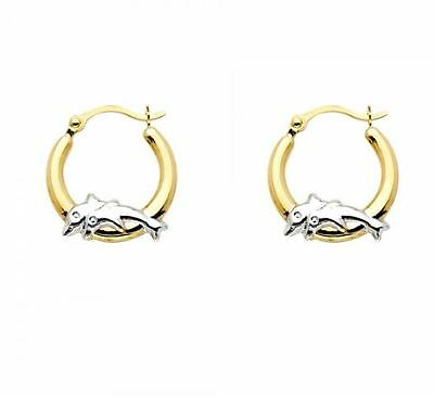 14K Solid Yellow Gold Two Tone Round Dolphin Hoop Earrings