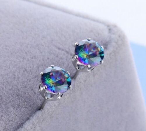 Jewellery - Women's Fashion Mystic Rainbow Topaz Gemstone Stud Earrings Wedding Jewelry Gift