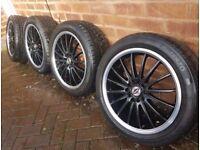 17 Inch Black Team Dynamics Alloy Wheels & Good Tyres 5 Stud 5x100 5x114 5x114.3 PCD 6 Months Old
