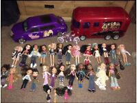 Girls Huge Bratz Bundle, Tour Bus, Convertible, Bicycle, Dolls, Extras....