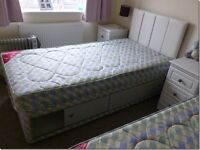 Two 3 ft single divan storage beds for sale. Headboards and mattresses included.