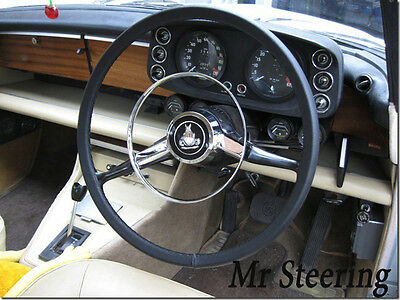 FOR MG MGB BEST QUALITY BLACK ITALIAN LEATHER STEERING WHEEL COVER 1962-1976