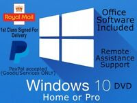 CAN POST IN UK - Windows 10 Home / Pro 64bit Laptop PC DVD Install Disc + Office 2016 Pro