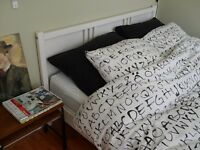 White IKEA double bed frame with mattress. FREE DELIVERY