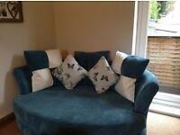 Blue DFS Chaise Sofa & Snuggle Chair