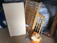 Mothercare wooden cot with accessories and mattress