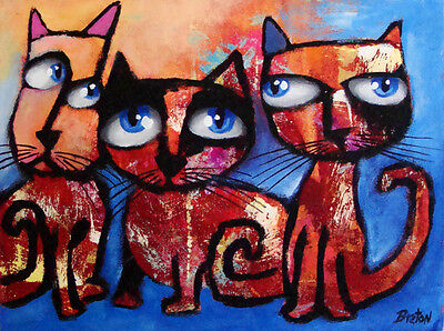 3 CATs Painting on Canvas Original Abstract Art     FREE SHIPPING !