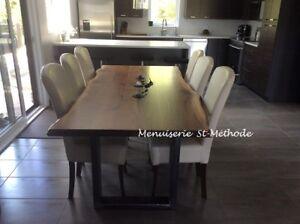 table en bois sur mesure, table en tranche d'arbre, table noyer