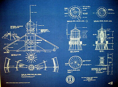 "Vintage California Lighthouse at Point Reyes 1870 Blueprint 21"" x 23"" (255)"