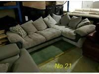 Grey jumbo cord corner sofa