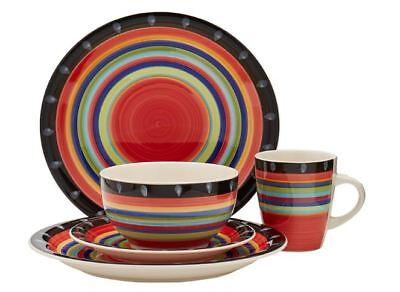 Dinnerware Set For 4 Stoneware 16-Piece Service Dinning Plates Mugs Discount - Discount Dinnerware
