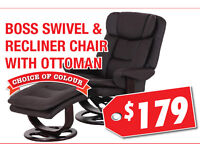 Boss Swivel & Recliner Chair with Ottoman, $179
