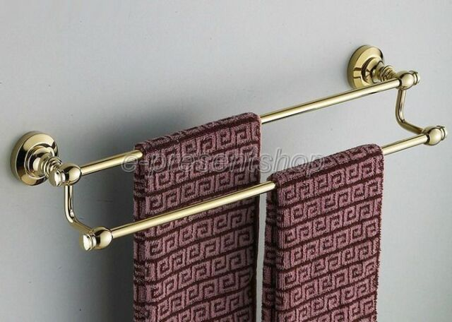 Bathroom Accessory Wall Mounted Gold Color Brass Double Towel Rail Bar Bba102