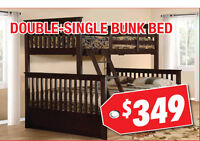Durable Double-Single Bunk Bed, $349