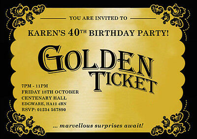 Golden Ticket Personalised Birthday Party Invitations - Golden Ticket Birthday Invitation