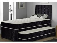 Single trundle guest bed. 2 mattresses and head board