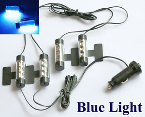 Neu 4x 3 LED Neon Auto KFZ Innenbeleuchtung Fußraumbeleuchtung Blau