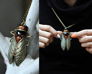 Fashion Charm Retro Vintage Bronze Tone Metal Insect Cicada Pendant Necklace Hot