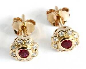 BURMESE RUBY AND DIAMOND EAR STUDS Buderim Maroochydore Area Preview