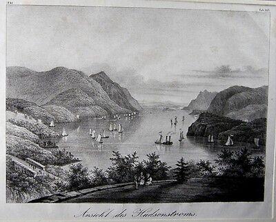 Stahlstich Ansicht des Hudsonstroms um 1850 (25845)
