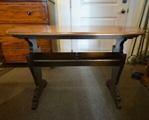 LOVELY VINTAGE SOFA TABLE WITH BOOK HOLDER BASE AT CHARMAINE'S