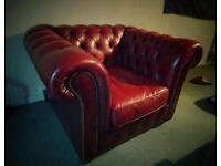 Three piece oxblood Chesterfield suite