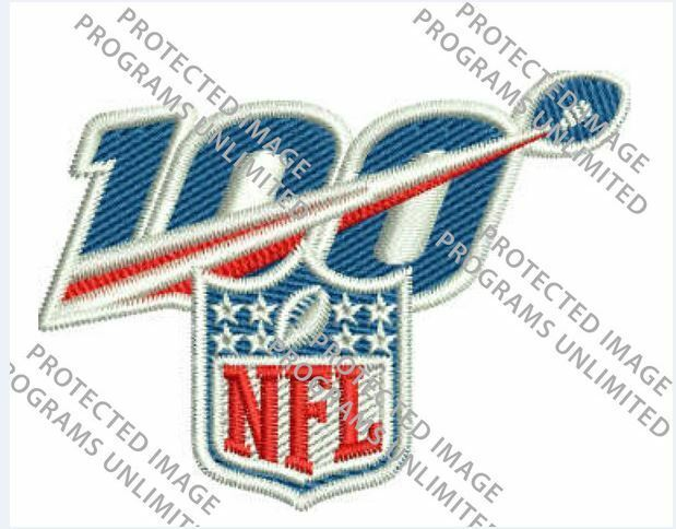 "NFL 100TH ANNIVERSARY JERSEY STYLE NECKLINE PATCH 2019 -2020 SEASON 2.25"" x 1.75"