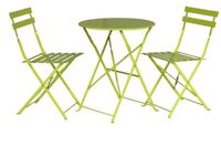 Green outdoor tables