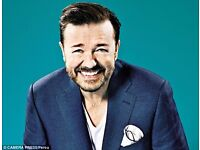 10x Ricky Gervais Tickets - Brighton Centre - Wednesday 10th May - 10.05.17 - Front Stalls Row R