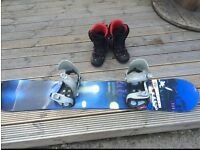 snowboard with boots, and bindings