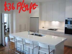 --WHITE NATURAL QUARTZ KITCHEN-------$36  Per Sqft--Free Vaniity