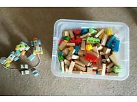 Box of mixed lego bricks and wooden blocks