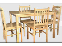 NEW CLEARANCE DINING STARTER NATURAL COLOUR FACTORY ASSEMBLED DINING TABLE + 4 SOLID TOP CHAIRS