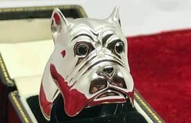 Amazing designer 18k gold with black diamonds bullbog ring £8300 value with a secret compartment